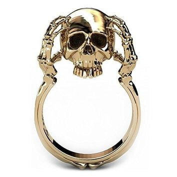 EVBEA Skull Rings for Women 14K Gold Statement Fun Skull Claw Band