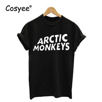 Cosyee ARCTIC MONKEYS Black White Letter Printed Tops Women's Vogue Hipster Comb Cotton T Shirt Harajuku Top Tees Free Shipping