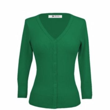 MAK Plus Size Classic V Neck Button Down Cardigan Sweater Kelly Green