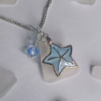 Sea Glass Necklace with Blue Starfish