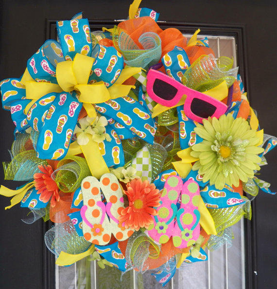 26 Quot Spring Summer Deco Mesh Wreath From Occasionsboutiq