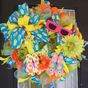 "26"" Spring/Summer Deco Mesh Wreath, Front Door Wreath, Door Hanger, Ready to Ship"
