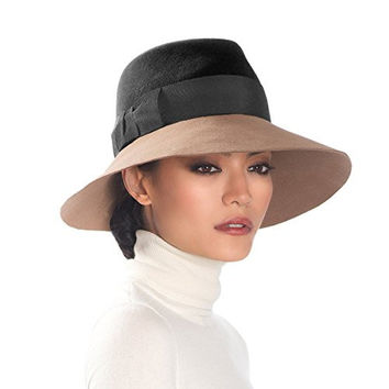 Eric Javits Women's Hat Luxury Headwear Tiffany Hat (Black/Camel)