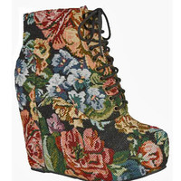 Floral Footsteps Wedge Booties - Unique Vintage - Cocktail, Pinup, Holiday & Prom Dresses.