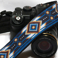 Native American Camera Strap (inspired). DSLR Camera Strap. Black and Blue Camera Strap. Camera Accessories
