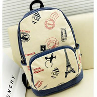 College Style Eiffel Tower & Airplane Print Canvas Backpack