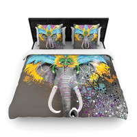 "Geordanna Cordero-Fields ""My Elephant with Headdress"" Gray Rainbow Woven Duvet Cover"