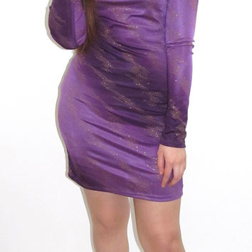 Off The Shoulder Purple Bodycon Dress
