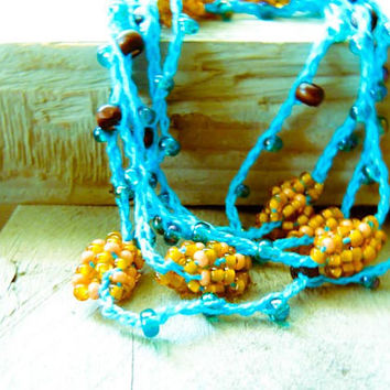 Spring fashion Turquoise Orange Brown crochet cord by CallOfEarth