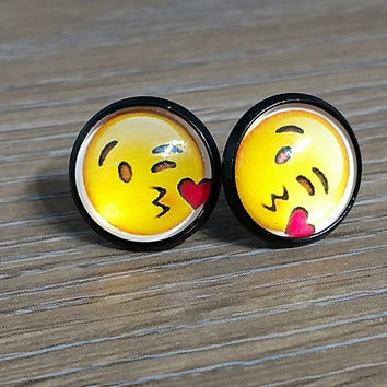 Emoji earrings- Face throwing a kiss- in black earrings