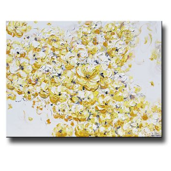 ORIGINAL Art Yellow Grey Abstract Painting Floral Flowers Gold Grey White Wall Decor 30x40""
