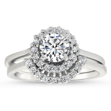 Thin Band Diamond Halo Engagment Ring and Wedding Band - Mint Wedding Set