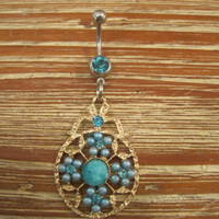 Belly Button Ring - Body Jewelry -Decorative Charm With Lt. Blue Gem Stone Belly Button Ring