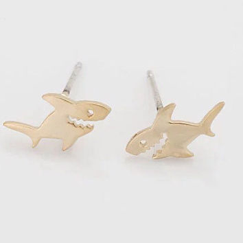 Lilly Pulitzer Inspired Gold Shark Earrings