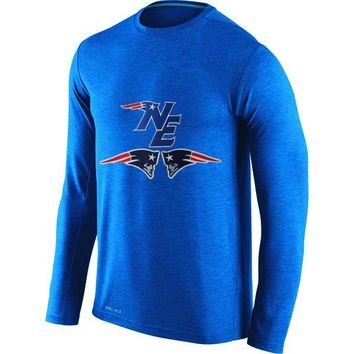 new england patriots Men's Patriots Fans Fashion Long Sleeve O-neck T-Shirt, New England Style NE Picture Printing Classical Tops Tees
