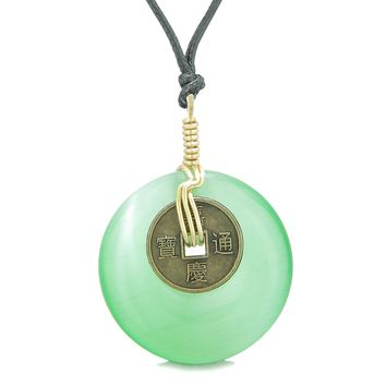 Lucky Coin Donut Gold-Tone Good Luck Powers Fortune Amulet Neon Green Simulated Cats Eye Necklace