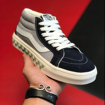 """Vans Sk8-Mid"" Unisex Street Fashion Multicolor Stitching Suede Canvas Shoes Couple Casual Skateboard Shoes"