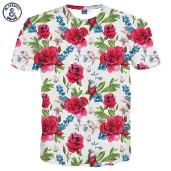 Mr.1991INC Brand T-shirt Men/Women Fashion Flowers T shirt 3d Print Birds Green Leaves Tshirt Summer Tops Tees Plus Size 3XL 4XL