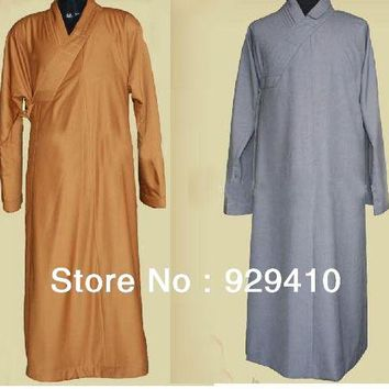 unisex thick cotton zen shaolin Buddhist Monks robe uniforms suits abbot gown laymeditation clothing gray yellow  2colors
