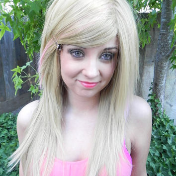 HAPPY HOLIDAYS SALE / Strawberry Champagne / Dirty Honey Blonde and Cotton Candy Pink / Long Straight Layered Wig
