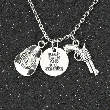 TWD Necklace Keep Calm And Kill Zombies Hat Pistol Gun Antique Silver Pendant