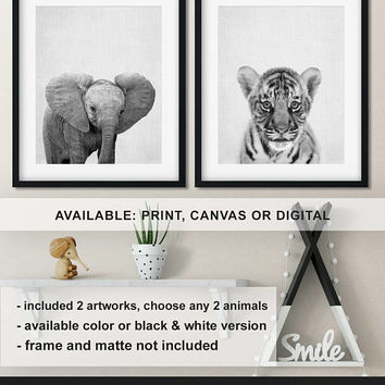 Baby animal prints nursery, Tiger cub print, Baby elephant nursery, Monochrome Nursery animal wall art, Safari animal prints Print/Canvas/Di