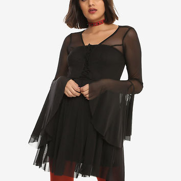 Black Lace-Up Bodice Bell Sleeve Mesh Dress