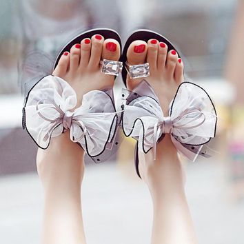 Woman Slipper Water Drill Bow Flats Fashion Flower Crystal Flip Flop Beach Slides Sandals