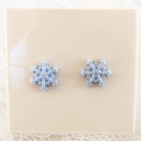 80s Kitsch Winter Pastel Snowflake Earrings by Avon (with Original Box)