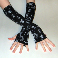 Tick-Tock Arm Warmers with skulls, clocks and roman numerals made of soft black cotton jersey knit fabric - Handmade