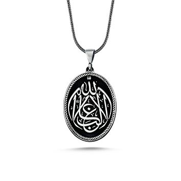 Calligraphy 'la galibe illallah' writing pendant 925k sterling silver necklaces with chain