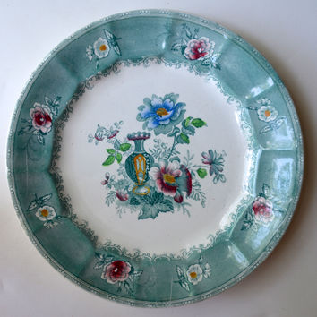 Antique 19th Century E Challinor Amula Teal Green / Turquoise Transferware Polychrome Dinner Plate Victorian Urn & Roses