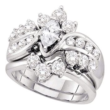 14kt White Gold Women's Marquise Diamond Bridal Wedding Engagement Ring Band Set 2.00 Cttw - FREE Shipping (US/CAN)