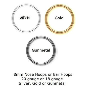 3 (Three) 8mm 20g Seamless Nose Hoops or Ear Hoops, 1 of each color Silver, Gold and Gunmetal