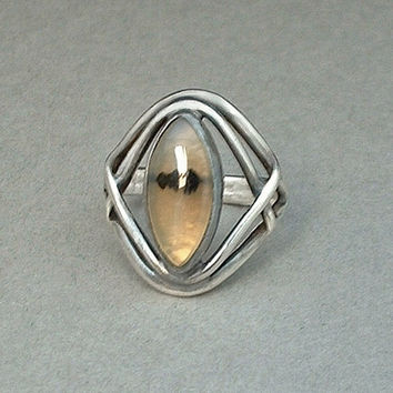 ARTS CRAFTS Antique Sterling SIlver RING Moss Agate Gemstone Center Prairie Style Size 6 c.1900s