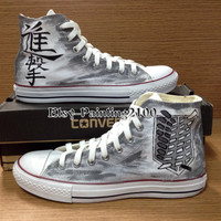 Custom Converse Shoes,attack on titan shoes,Hand-Painted Converse, painted Converse,Custom gift