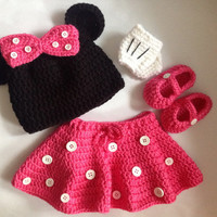 Minnie Mouse Pattern In PDF Tutorial File, crochet minnie mouse pattern, crochet outfit for girls
