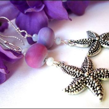 Silver Pewter Starfish Lavender Purple Sterling Silver Earrings