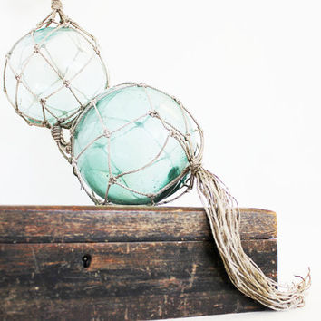 Floating - Vintage Glass Fishing Floats - Vintage Home Decor - Grayed Jade - Beach - Pantone - Pastel - Mint