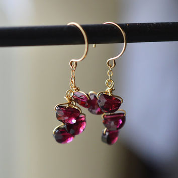 Red Garnet Dangle Earrings. Red Gold Gemstone Dangles. Wire Wrapped Gold Garnet Earrings. January Birthstone. Gold Cluster Gemstone Earrings