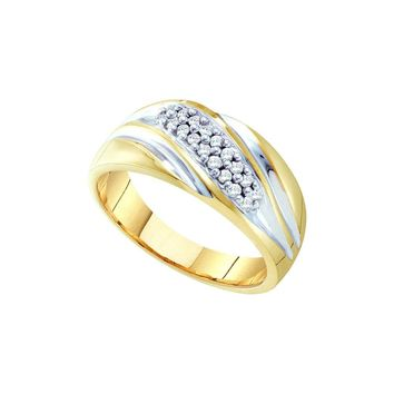10kt Yellow Two Tone Gold Mens Round Pave Set Diamond Diagonal D