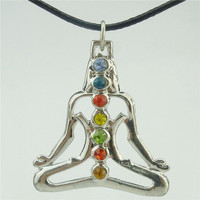"Alloy Silver Buddha Chakra Yoga 17"" Necklace"