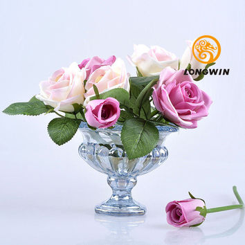 "LONGWIN 2 colors  Footed Glass Trumpet Vase 4.33""H Beautiful Home Decorations Wedding Table Decor"