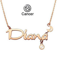 Cancer Diana Zodiac Gold Plated Pendant Necklace
