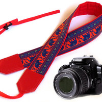 Red Camera Strap. Lucky elephant Camera Strap. Camera accessories. Photo accessories.