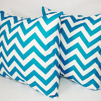 Two Chevron Decorative Pillow Covers Turquoise and White - 16 x 16 inches Throw Pillow Couch Pillow Accent Pillow