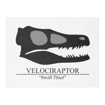 Velociraptor Skull Fleece Blanket