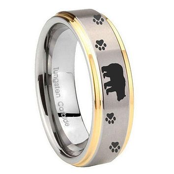 10MM Step Edges Bear and Paw 14K Gold IP Tungsten Two Tone Men's Ring