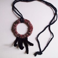 Upcycled Crocheted Fringe Pendant Necklace in Purple & Black by OneSClark