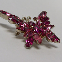 Vintage Butterfly Brooch Pin, Juliana Style, 3 shades of Fuchsia Rhinestone Butterfly Brooch Pin